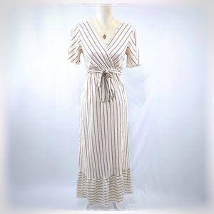 Antoinette Linen Blend Cream/Red Stripe Dress S